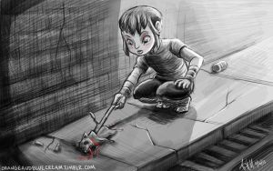 Karai finds a dead rat by OrangeBlueCream