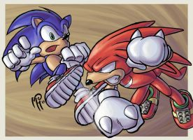 Sonic Vs. Knuckles by MarcelPerez