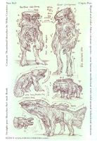 Creature bipeds and other thumbnail sketches by MIKECORRIERO