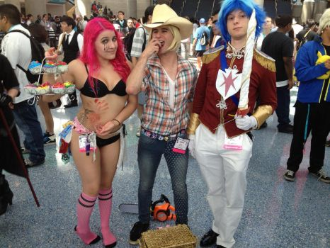 Pinkie Pie, Applejack, and Shining Armor by Derp-chan