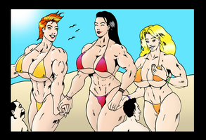 Verna and her girls in a beach day by MiniGtsLover