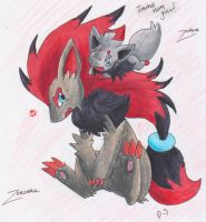 Zorua and Zoroark by MahoxyShoujo