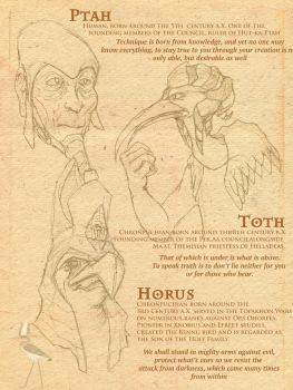 Heliopolis: Ptah, Toth and Horus by Typhonian-Apkallu