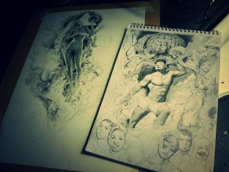 Technobeetle update and Frank Yang commision WIP's by Miles-Johnston