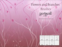 Flowers and Branches Brushes by Devirose81