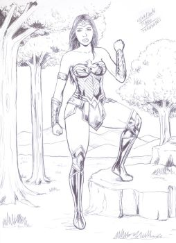 Wonder Woman, made only with bic pen by TIAGO-FERNANDES