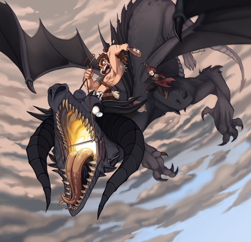 Ride the Dragon!! - Art Trade by KelCasual