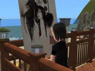 Little Sasuke is drawing by lizathehedgehog