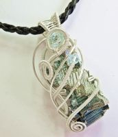 Bismuth Pendant with Swarovski Crystal in Silver by HeatherJordanJewelry