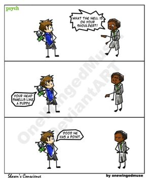 Psych: Shawns Conscience Comic by OneWingedMuse