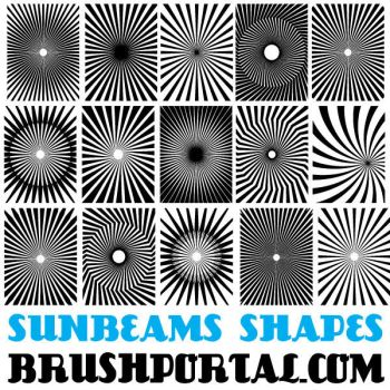 Sunbeams Custom Shapes For Photoshop by Brushportal
