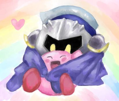 Kirby and Meta Knight by naughty-word