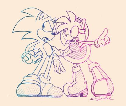 Sonic and Amy by kimlech