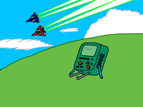 Raiden Mk. II fighters and BMO (Adventure Time) by RGMfighter14