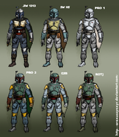 All Boba Fett color schemes by AraxussYexyr