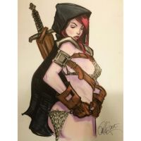 Cloaked Red Sonja by Rvalenzuela80