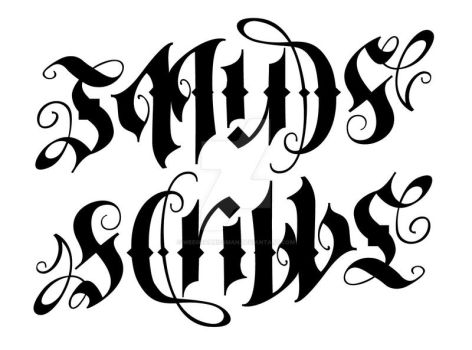 New Smudge + Scribble Ambigram 2, 180 rotational by Weegraphicsman