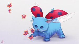 Catbug and the Butterflies by Eminina