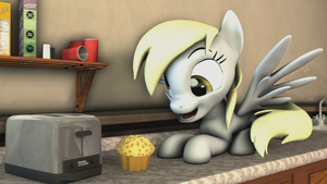Derpy Found a Muffin in the Kitchen! by NightB1ader
