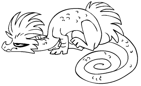 Free dragon lineart 6 [MS Paint friendly] by xSitax