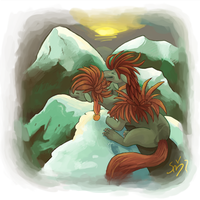 commission 1- Mountains by CrowRaptor