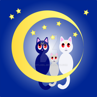 Moon Kitties by TexacoPokerKitty