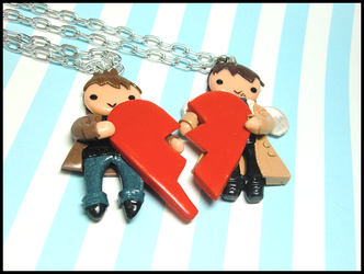 Dean and Castiel Love Heart Set by GrandmaThunderpants