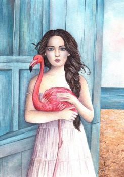 A Girl and Her Flamingo by IreneShpak