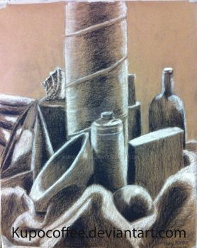 Charcoal Pencil Still Life by kupocoffee