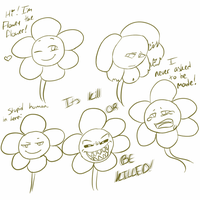 Flowey the flower sketches(spoiler?) by Channydraws