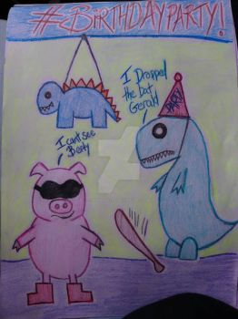 Birthday party for a t-rex by fishbonez196