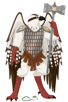 Kyrai the Aarakocra Cleric by The-Emerald-Otter