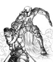 Mandalorian and twilek scetch by Flick-the-Thief