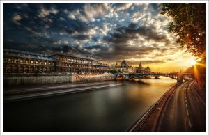 Paris:The barge and the bridge by Graphylight
