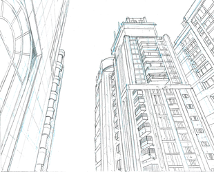 Perspective drawing: City by mettetettee