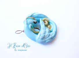 Twin blue dragons pendant 2 by rosepeonie