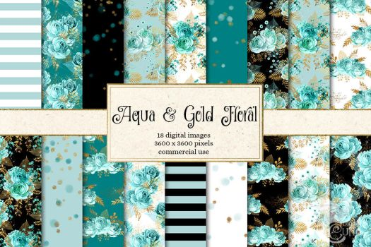 Aqua And Gold Floral Digital Paper by OriginsDigitalCurio