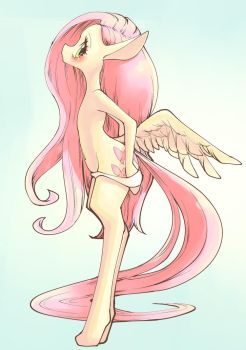 Fluttershy Taking Panty Off by conbudou