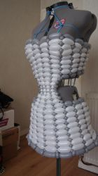 Futuristic balloon dress for photo shoot by mrballoonatic