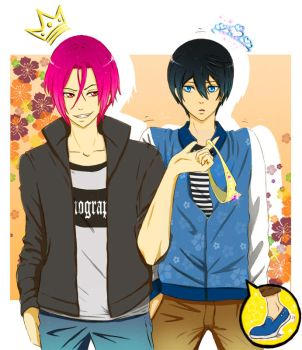 Rin and Haru. When Rin won by 2 cm. by andungen