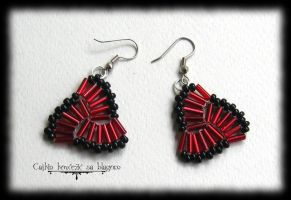 Red Triquetra Earrings by Cayca
