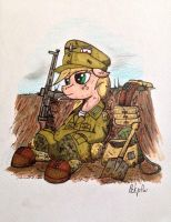 Applejack in the trench. by IncrediblePanzer