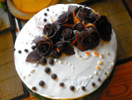 cake with chocolate roses by Ankh666sunamun