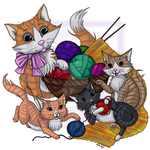 Mommy Cat and Kittens Play With Yarn CLR by EmilyCammisa