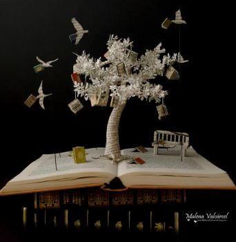 The Tree of Knowledge - Book Sculpture by MalenaValcarcel