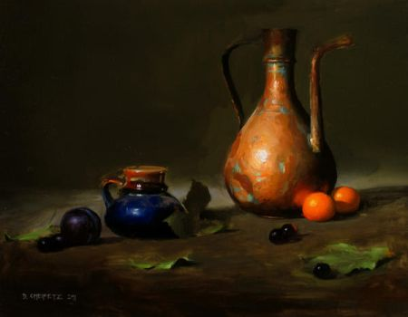 pitcher and tangerines by turningshadow