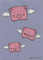 Flying Pigs by littlepaperforest
