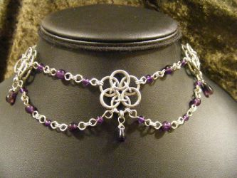 Helm Flower Amethyst Choker by BacktoEarthCreations