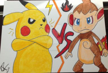 3rd place prize! - Pikachu Vs. Chimchar! by Colorful-Kaiya