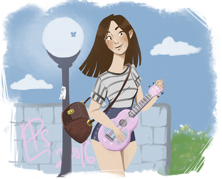 girl with her ukulele by ladypumpkinseed